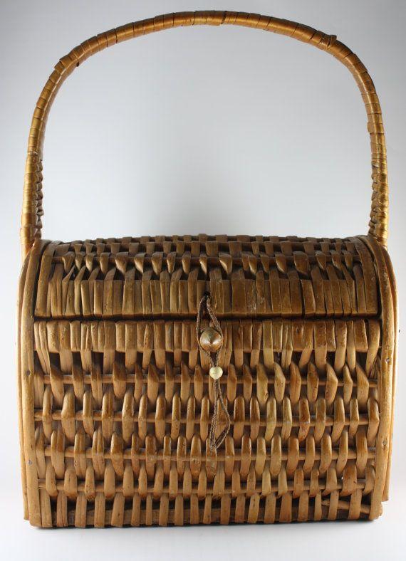wicker basket vintage 1970's vintage bags and by BriarFireGoods, $34.00