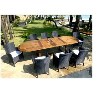 Salon en teck table 300 cm avec 8 fauteuils en résine tressée et coussins