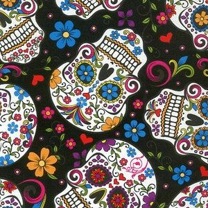 Hey, I found this really awesome Etsy listing at https://www.etsy.com/listing/172733814/folkloric-skulls-on-black-cotton-fabric