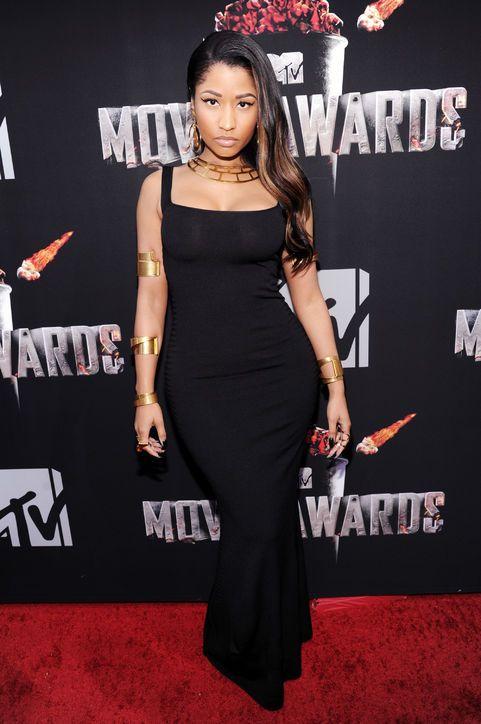 Nicki Minaj looking sleek in an Alexander McQueen gown at the MTV Movie Awards