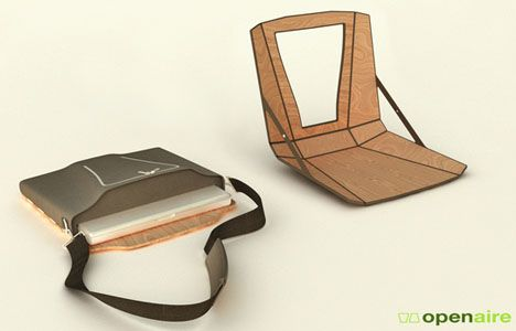 Mobile Office: Wood Chair + Desk Fold into a Computer Bag