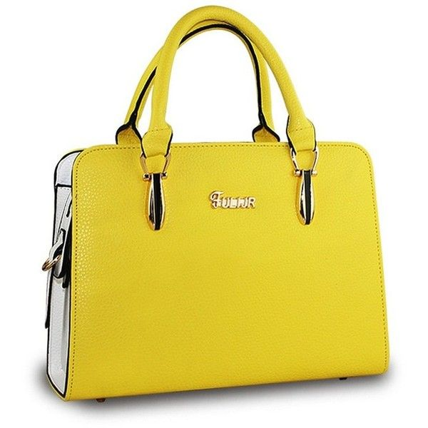 Yellow Women's Handbag Ladylike Solid Color Zipper Stylish Bag (48 PEN) ❤ liked on Polyvore featuring bags, handbags, tote bags, yellow tote bag, purse tote, handbags totes, zip tote and handbag purse