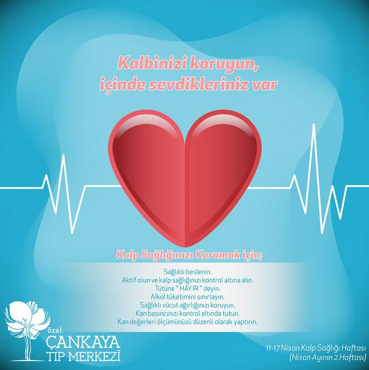 Kalp Sağlığınızı Korumak İçin: Sağlıklı beslenin. Aktif olun ve kalp sağlığınızı kontrol altına alın. Tütüne '' HAYIR '' deyin. Alkol tüketimini sınırlayın. Sağlıklı vücut ağırlığınızı koruyun. Kan basıncınızı kontrol altında tutun. Kan değerleri ölçümünüzü düzenli olarak yaptırın. Kalp ve Damar Hastalıkları ile mücadele etmenin önemini vurgulamak, kişileri bu hastalıklara karşı uyarmak, kalp sağlığını koruma konusunda bilinçlendirmek, sağlıklı yaşam alışkanlıkları kazandırabilmek ve kalp…
