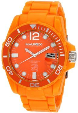 Haurex Mens O7354UOO CAIMANO  Rotating Bezel Orange Dial Plastic Sport Watch High visibility orange has always been a popular color for diver's watches. Just look at the new Swiss Military Calibre Marine Orange Rubber Date Watch. With a bright orange rotating bezel and matching silicon strap, this watch is hard to ignore.