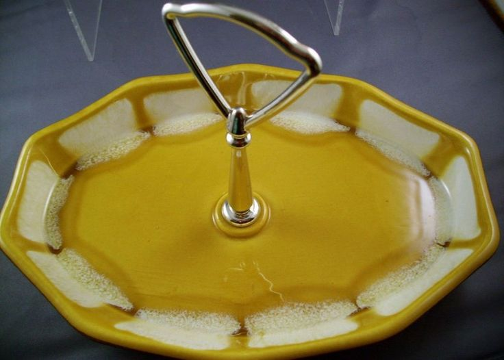 California Pottery yellow tidbit dish yellow, brn, wht.