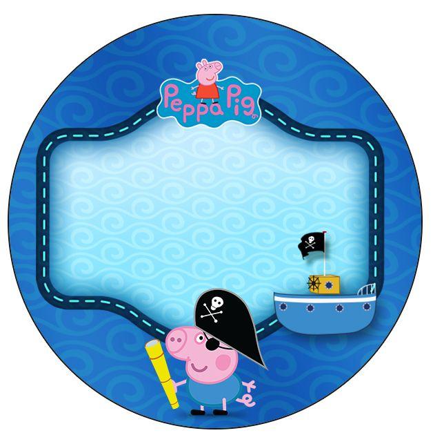 Rótulo Latinhas, Toppers e Tubetes George Pig Pirata(Peppa Pig):