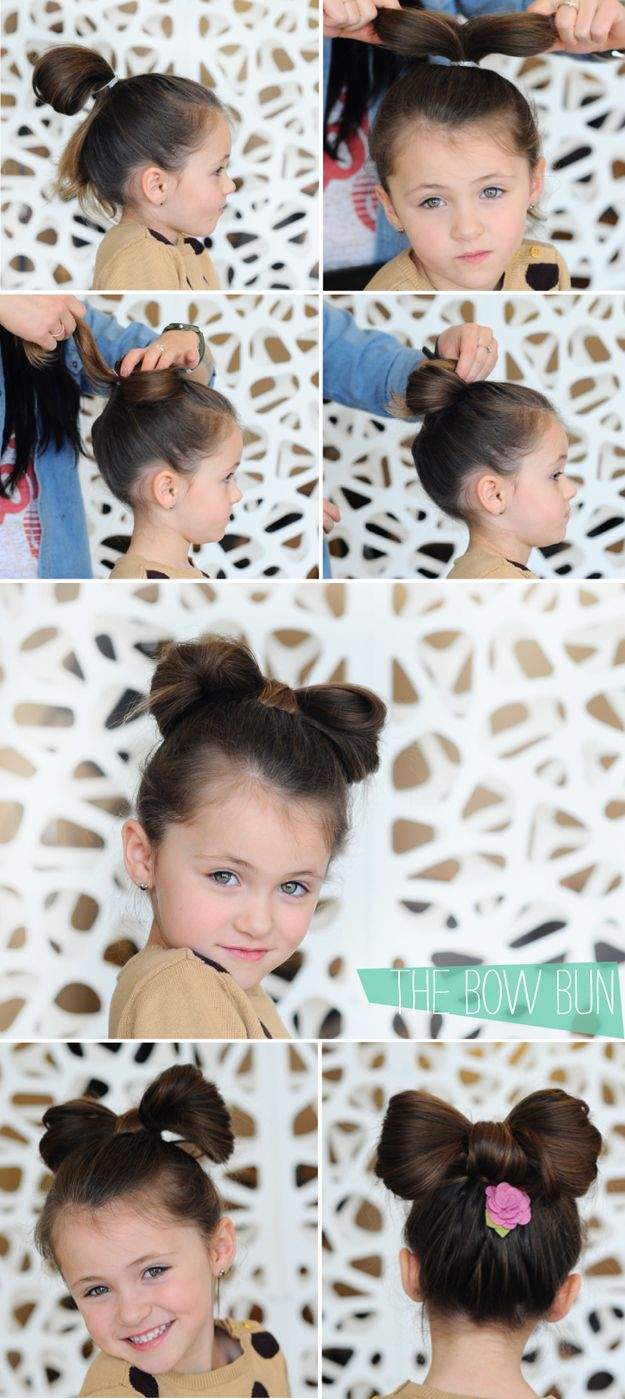 The Bow Bun - Several really cute ideas for toddler hairstyles.  This one would be perfect for a Minnie Mouse party or a day at Disneyland.