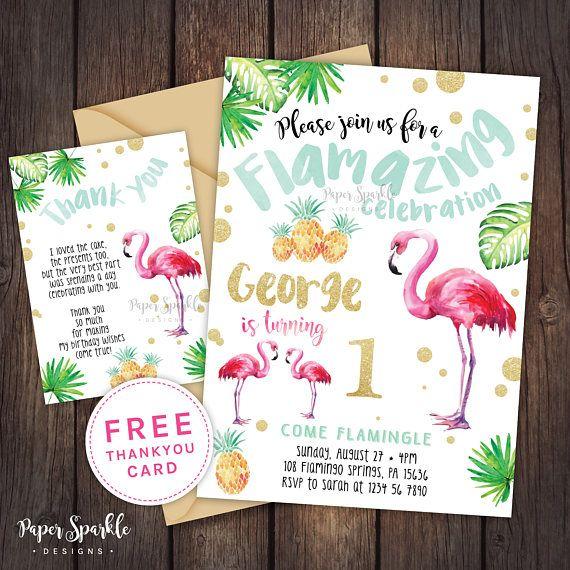 Flamingo invitation Flamingo party pool party pool party