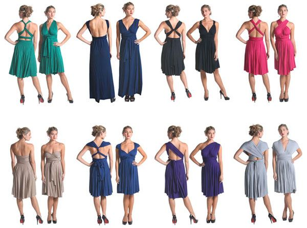 One dress, one color (or more), tied in multiple ways for bridesmaids. http://tartcollections.com/lookbooks/the-infinity-dress