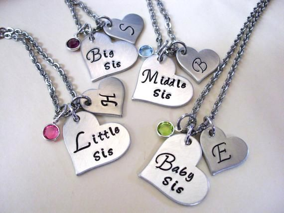 sister necklaces Hand stamped Big Sis personalised necklaces Sister pendants Little Sis heart necklaces