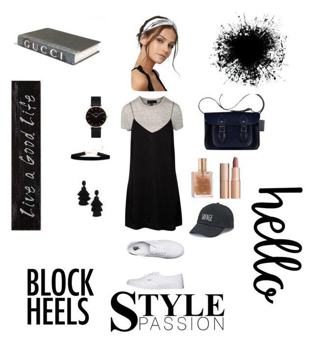 """Black Outfit"" by dindameitiza on Polyvore featuring Vans, LULUS, Charlotte Tilbury, Oscar de la Renta, CLUSE, E. Lawrence, Ltd., 3R Studios and SO"