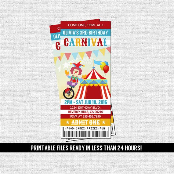 carnival ticket invitations circus amusement park birthday party printable files by nowanorris on etsy