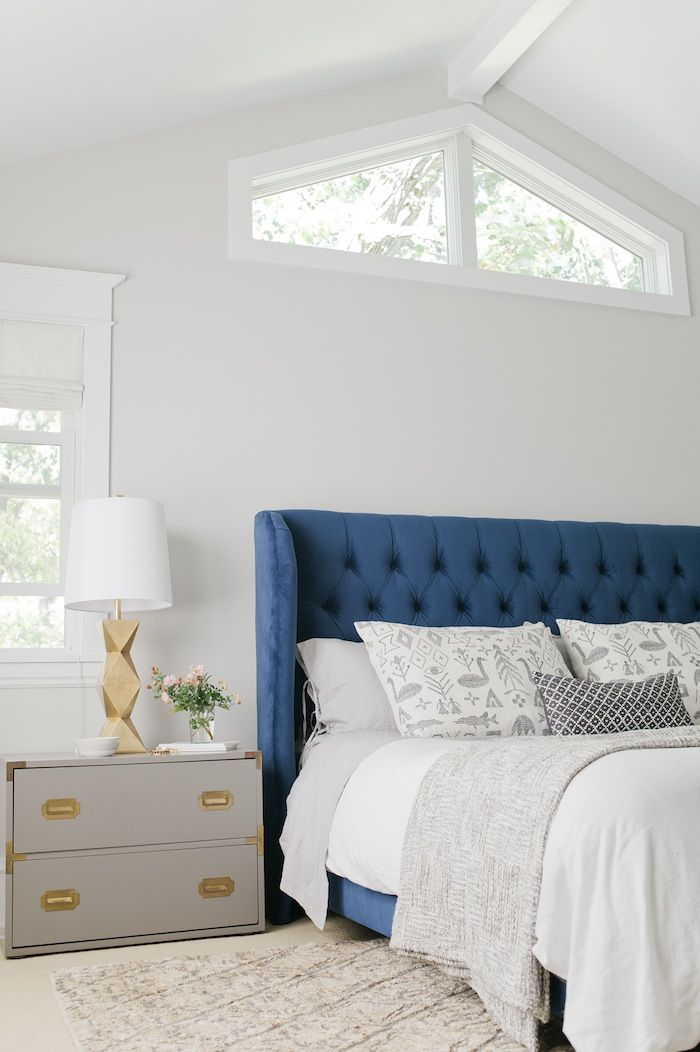 For when I finally make my headboard! Love the curved shape but might make deeper sides. The Curbly bedroom makeover | Emily Henderson