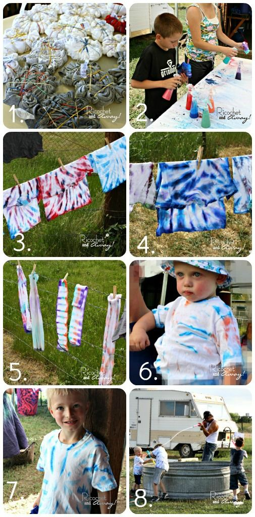 Ricochet and Away!: DIY no dye tie dye  We're having a Tie Dye birthday party for the boys and this looks super inexpensive and EASY!