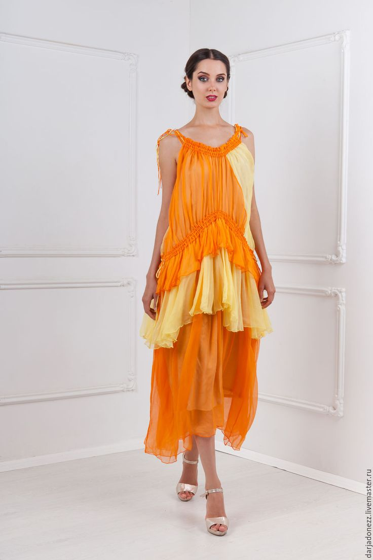 Купить Шелкове платье - оранжевый, греческое платье, греческий стиль, авторское…