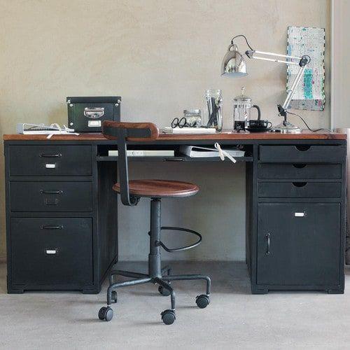 Solid sheesham wood and metal desk W 165cm