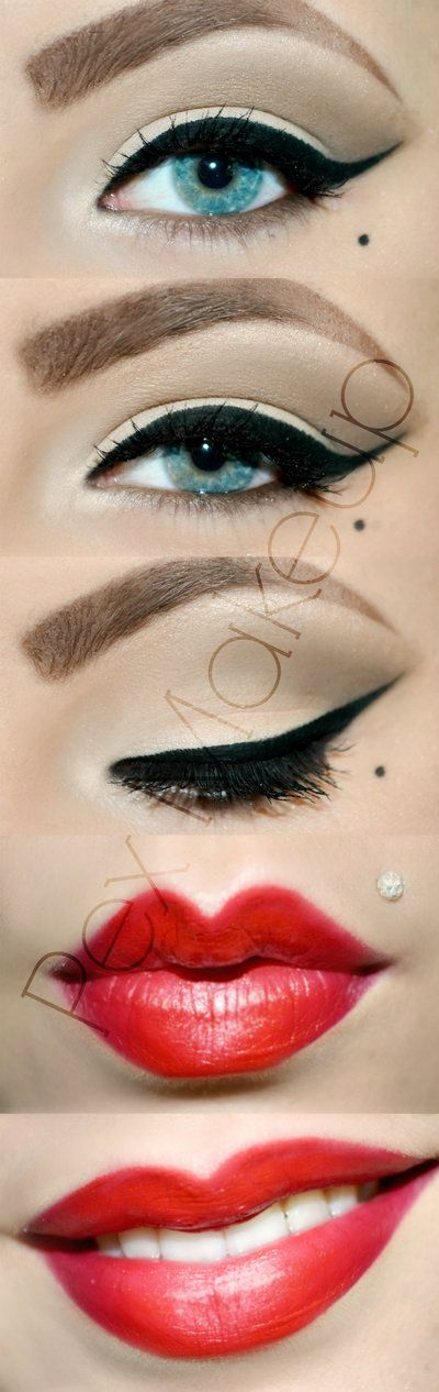 Perfectly Pin Up Makeup!:: Wing tips and Red Lips:: Retro Makeup:: Vintage Makeup Inspiration:: Wing tipped eyeliner
