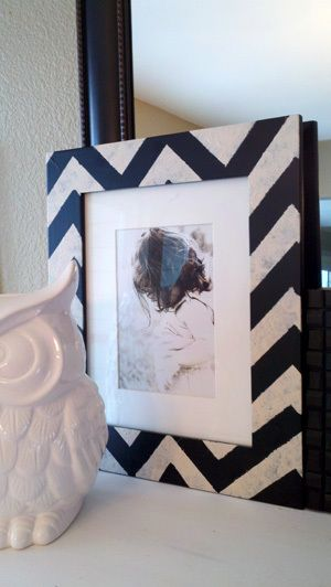 DIY painted chevron frame