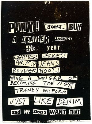Punk Don't Buy A Leather Jacket – Small (1979). jamie reid.