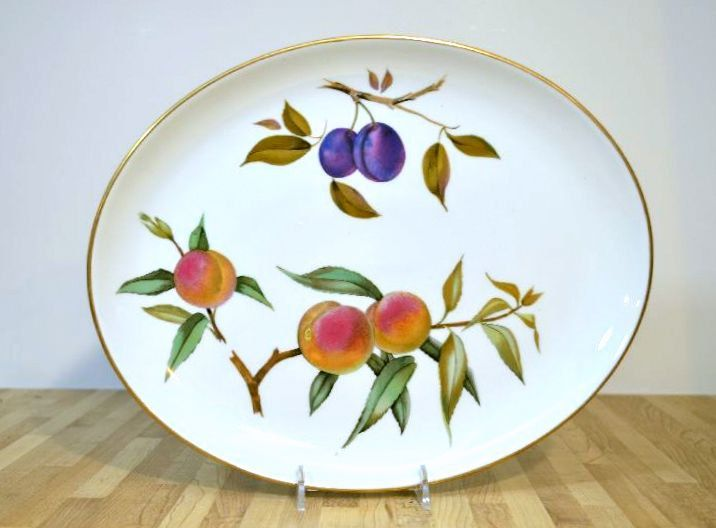Midcentury Platter 1961 Royal Worcester Fine Porcelain Oven To Table Evesham  Pattern Peaches And Plums Fruit Design