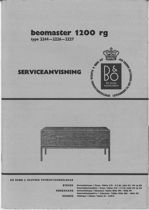Bang & Olufsen Beomaster 1200 RG , Service Manual (type 2244,2226,2227)  in Dutch language PDF format suitable DOWNLOAD