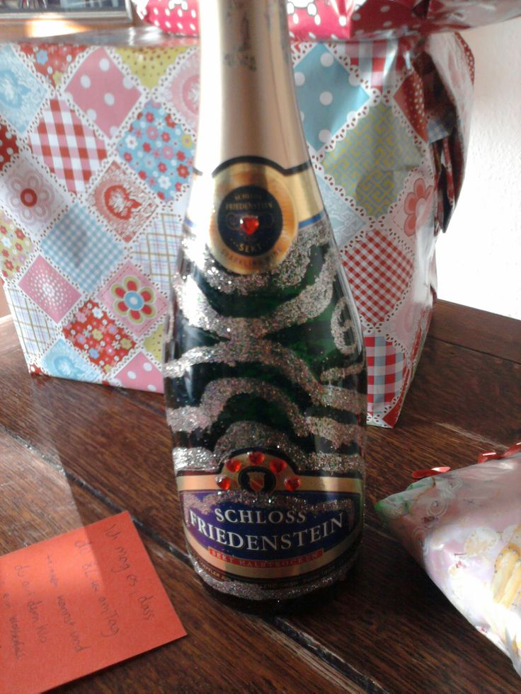 Sektflasche- verschönert mit Glitzer♥