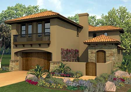 Plan 36817jg Spanish Courtyard Home Plan Loft Flower