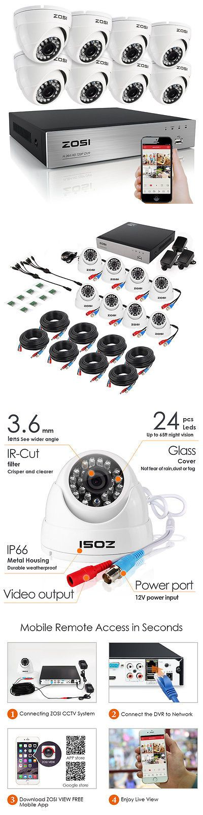 Surveillance Security Systems: Zosi Hd 720P 8Ch Hdmi Dvr 1500Tvl Outdoor 65Ft Ir Home Security Camera System BUY IT NOW ONLY: $169.99