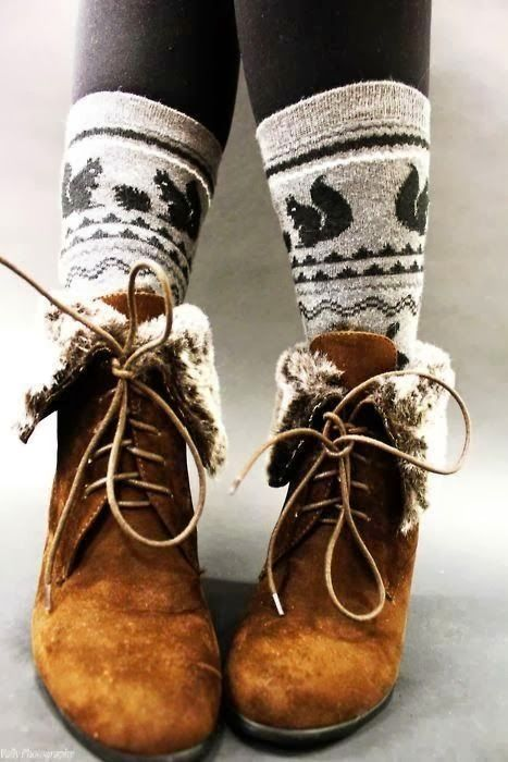 Fur Boots With Winter Socks