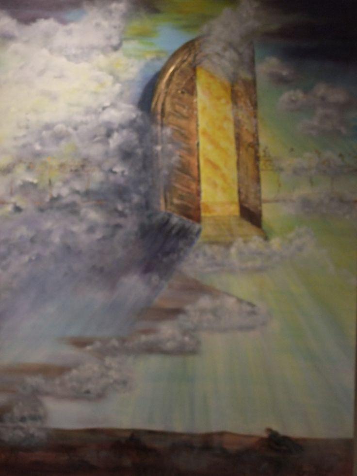 'A Door Standing Open' - inspired by scripture from Rev. 4:1;depicts the open door as prophetic revelation.  Acrylic