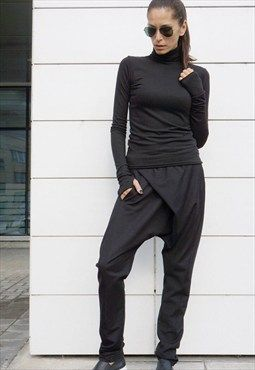 oose Casual Black Drop Crotch Harem Pants/Unisex  B05540