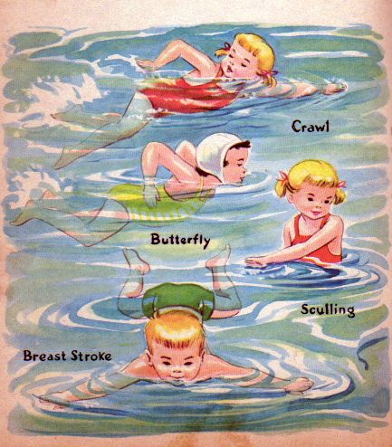 Little Swimmers by Dorothy Grider, 1960- Swimming Strokes - cute to copy for a scrap page