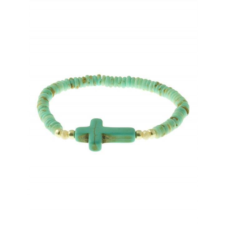 AziBi-iBizA | Armband | Kruis Turquoise *** Combineer deze zomerse turquoise armband van AziBi-iBizA met de basis kralen armbanden!