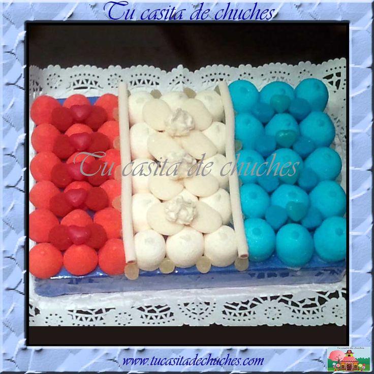 Tarta de chuches bandera de Francia