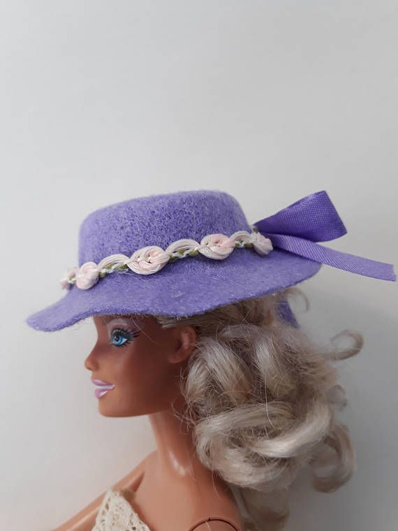 Lilac felt hat for Barbie with pretty trim and hand tied lilac
