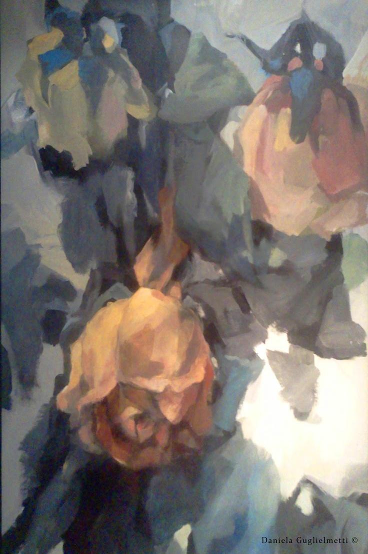 Flores de papel / Manchas de color/ Pintura  painted roses
