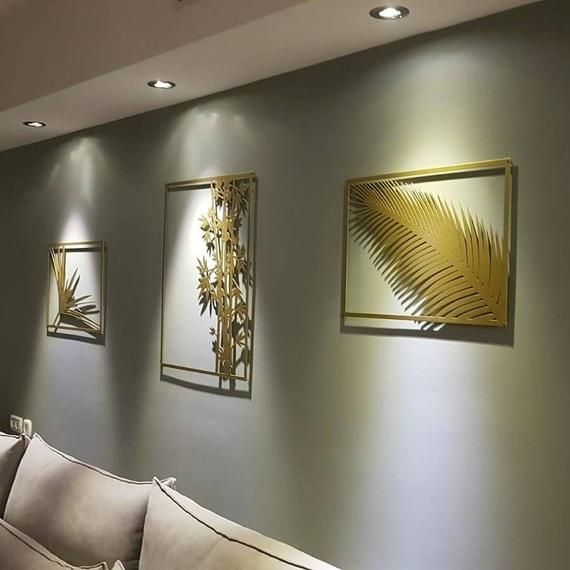 Beutiful Botanical Gold Metal Wall Art Set Of 3 Gold Wall Etsy Gold Metal Wall Art Gold Wall Art Wall Art Sets