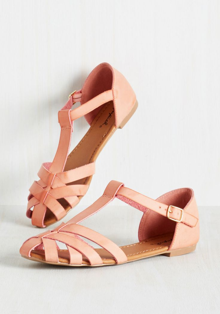 Adorable in Action Flat. Set your sweet style in motion by waltzing through your day in these T-strap flats! #coral #modcloth