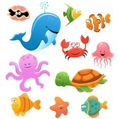 Animales marinos cartoon - Vector. Caricatura. Concha, ballena, pulpo, cangrejo…