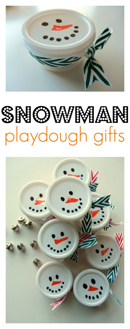 Snowman Playdough is a great gift for your kid to hand out in class! What an awesome idea from No Time for Flash Cards!