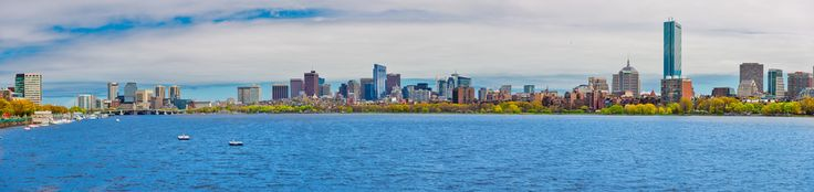 Boston panorama from the Charles end to end trees in bloom [2048x485]