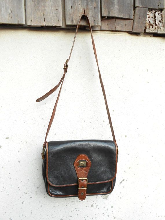 Vintage MARCO POLO Black Leather Messenger Bag  by VindicoShop