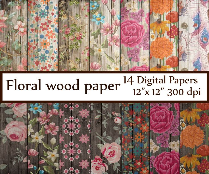 Wood Floral Paper: FLORAL WOOD PAPER Shabby digital paper Distressed textures Floral Background cottage Decoupage papers Vintage Floral You will receive: - 14 digital papers - 12x12 inches - JPG format - High resolution (300dpi) Use for Scrapbooking, Cardmaking, Handmade Stationery,