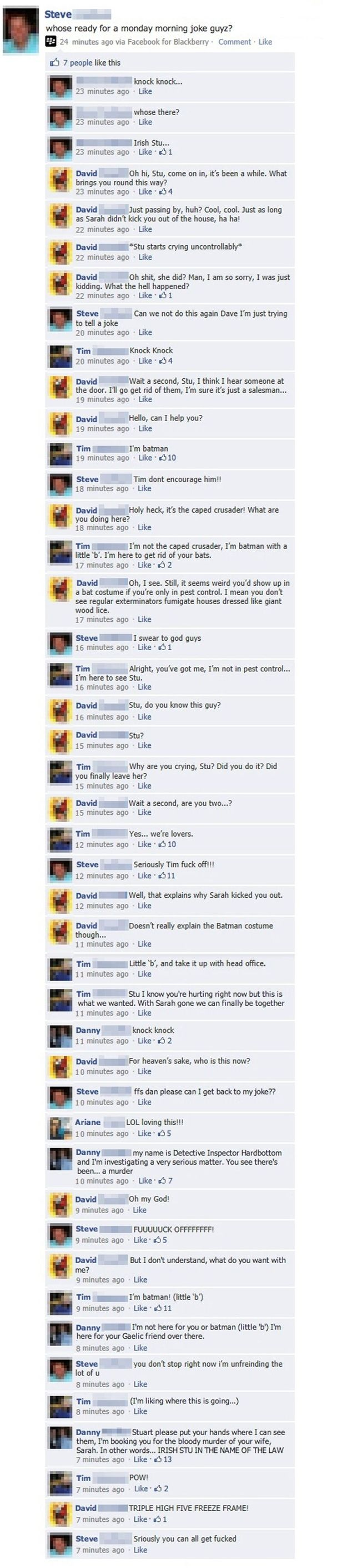 Possibly The Best And Most Convoluted Knock Knock Joke Ever -- If only all Facebook comment threads were like this.
