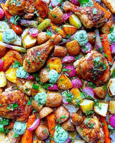 Tavaszi tepsis csirke vele sült zöldségekkel | Chili és Vanília