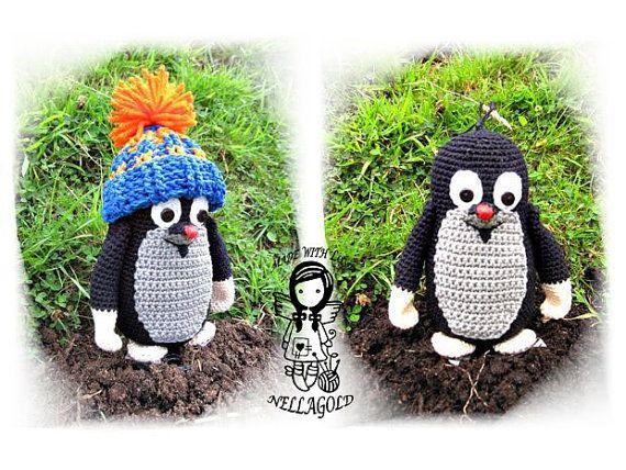 Crochet PATTERN Mole with hat Toy DIY by NellagoldsCrocheting