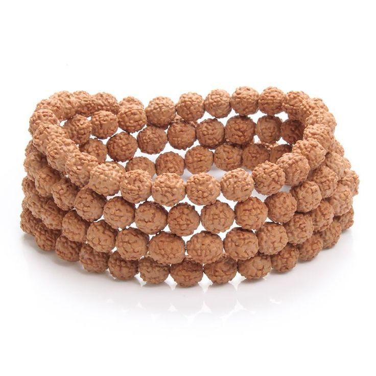 Natural Rudraksha Mala Beads Bracelet (or alter. Necklace)