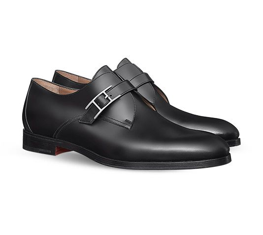 Hermes men's derby shoe in Tuscan calfskin, leather and rubber sole