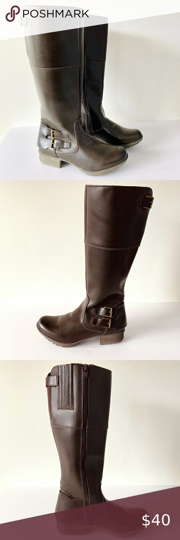 Clarks Brown Leather Knee High Riding Boot Size 8 Boots Riding Boots Shoes Women Heels [ 1740 x 580 Pixel ]