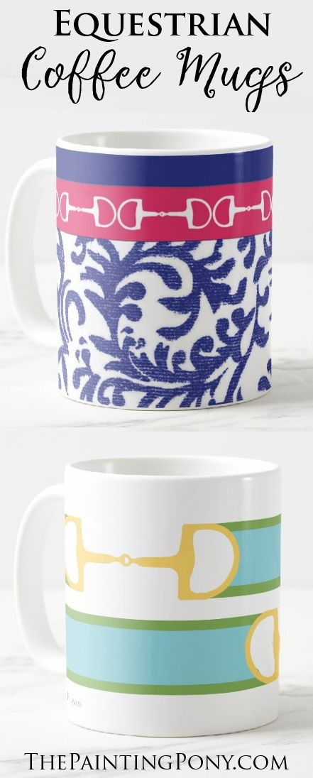 horse lover coffee mugs - equestrian mug with fun and colorful artwork and designs in 11 or 15 ounce sizes. who wouldn't love to drink their morning coffee or tea out of one of these beautiful pony themed mugs?! hunter jumper dressage horseback riding enthusiansts check these out.